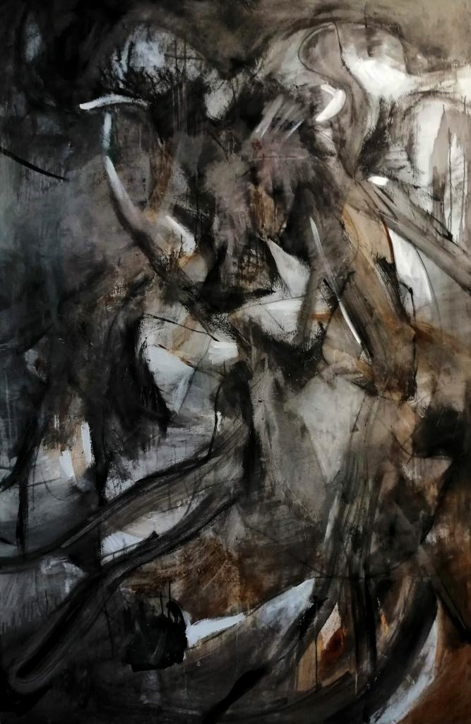 Le voyage des loups acrylique sur toile Patrick Blanchon 2018