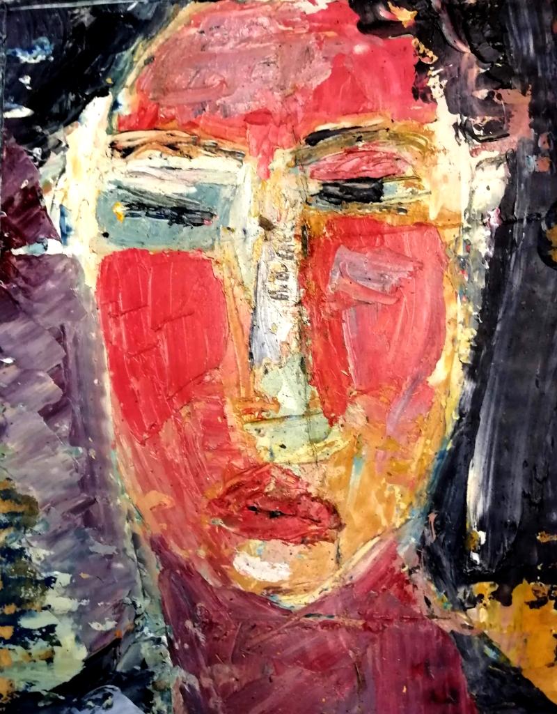 Patrick Blanchon huile sur carton format 30x40 autoportrait en rouge