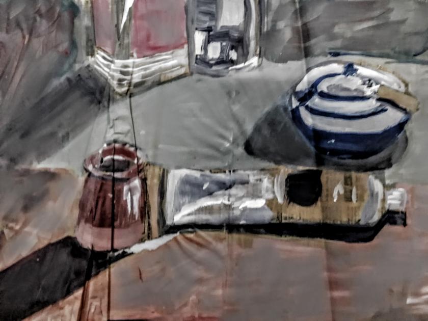 Huile sur papier journal Réalisation 1985 représentant quelques objets sur une table d'angle.Oeuvre de jeunesse de l'artiste peintre Patrick Blanchon