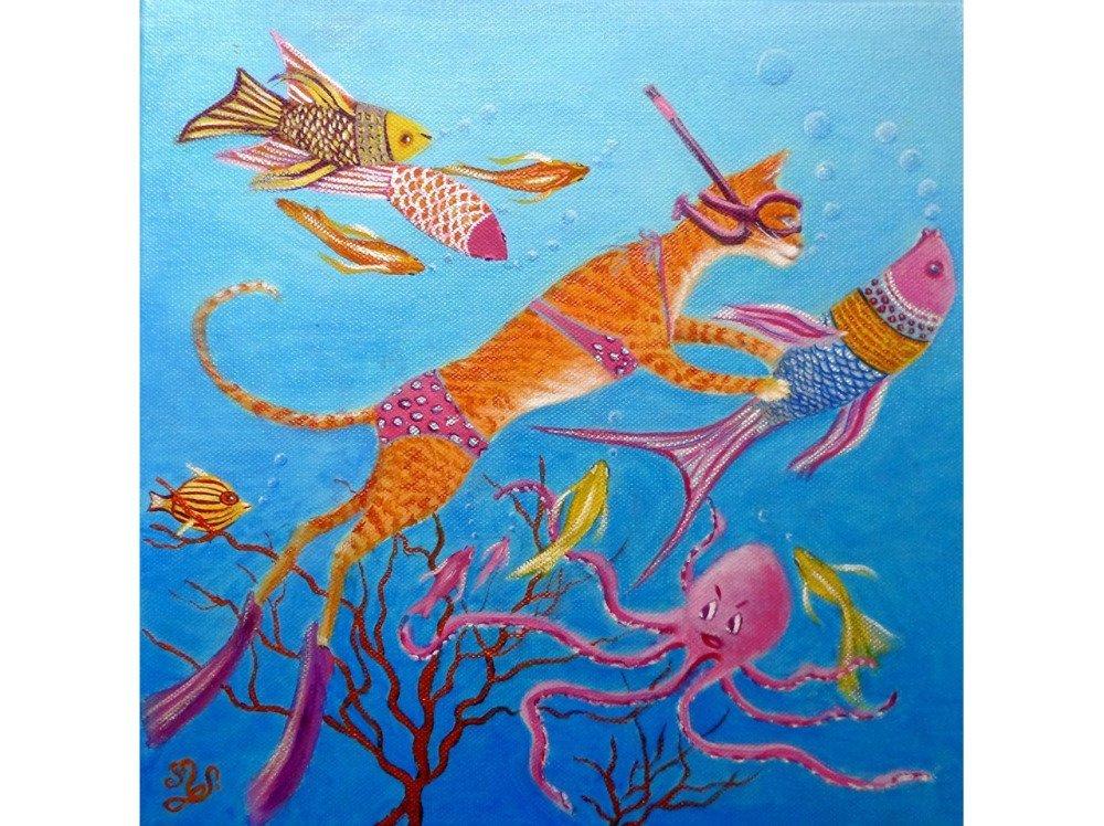 Mam'zelle poisson, plongée en apnée. https://www.ungrandmarche.fr/boutiques/p/univers-enfants/mam-zelle-poisson-chat-plongeuse-en-apnee-peinture-a-l-h/1975709