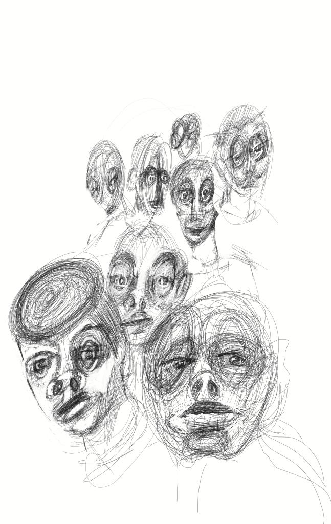 esquisses visages Patrick Blanchon 2020