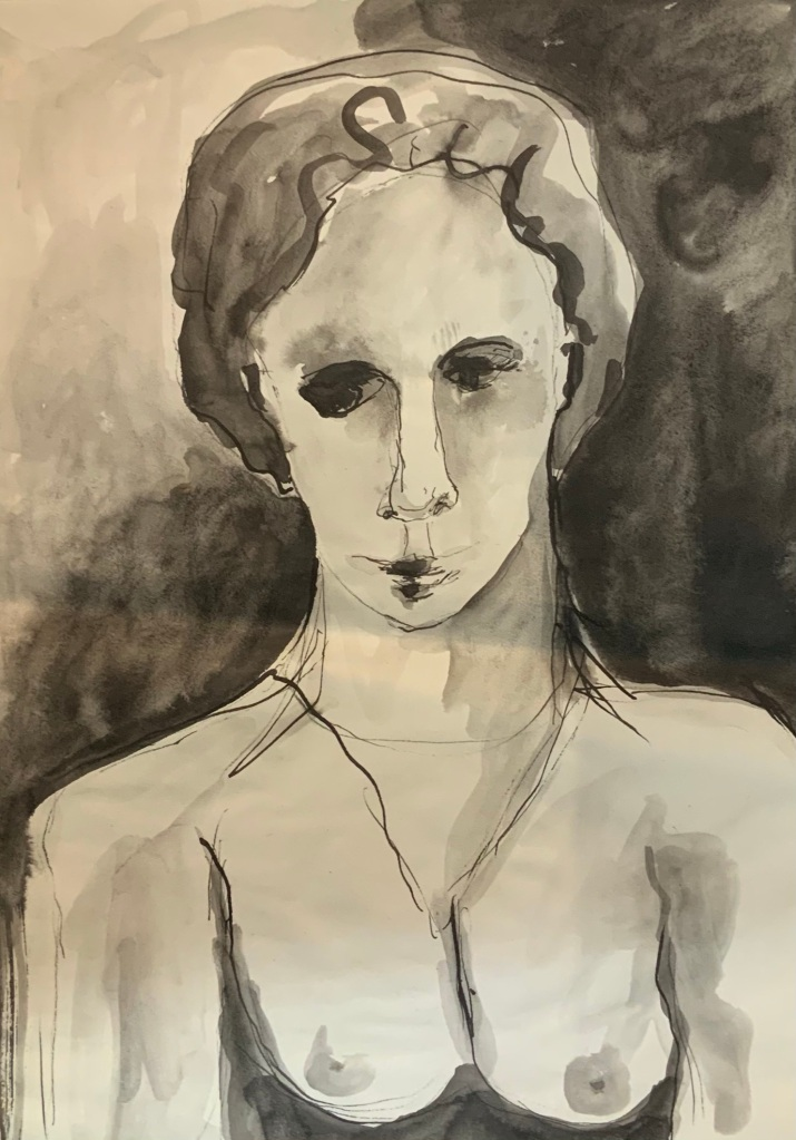 Encre Etrangeté Buste de femme format 30x40 cm Patrick Blanchon 2002