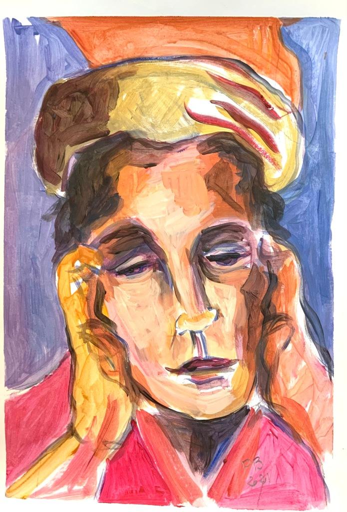 visage femme regard triste acrylique sur papier format 30x40 cm Patrick Blanchon 2021