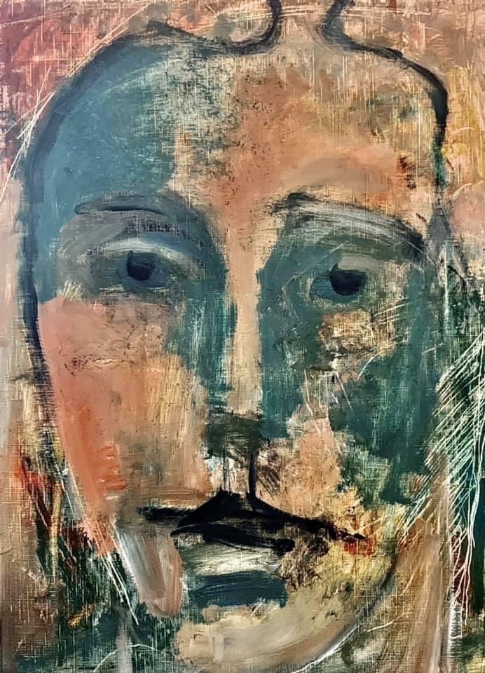 Visage imaginaire Patrick Blanchon 2021 huile sur papier 46x 38 cm